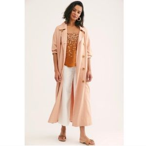 Free People Sweet Melody Pink Trench Coat Duster